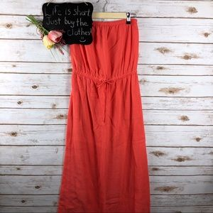 J. Crew coral pink strapless drop waist maxi dress